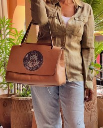 Bag leather camel big size with khmissa & eye painted print green camel