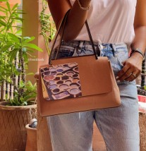 Bag leather camel medium size with khmissa & eye painted print dar debbagh