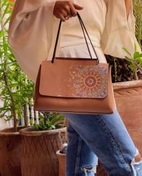 Bag leather camel medium size with khmissa & eye painted print Zellij colorful