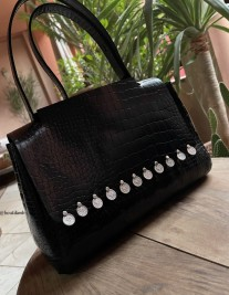 Bag leather croco black with coins
