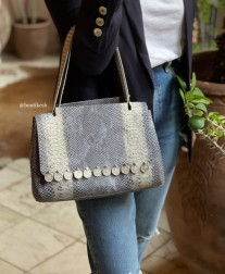 Bag leather croco white light blue with coins