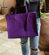 Bag suede leather holdall purple with pompons