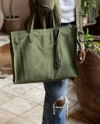 Bag suede leather holdall green kaki with pompon