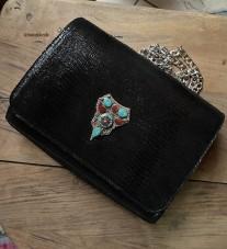 Bag jewelry leather croco black with artisanal jewelry