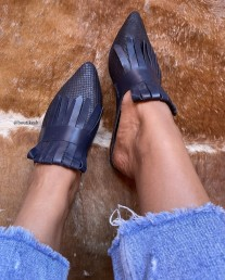 Mules Sleepers leather blue