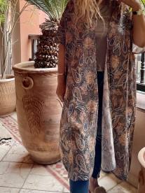 Kimono coton ethnic kaki brown green beige