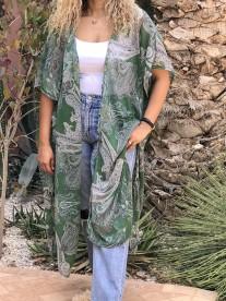 Kimono mousseline ethnic green white