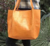 Bag tote leather croco orange