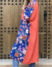 Kimono cotton flower print bleu orange