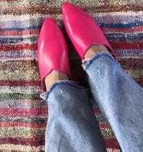 Slippers leather pink fushia