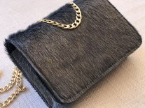 Bag Hairy leather grey gold with gold chain