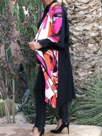 Kimono crêpe satin orange pink black & white with black back