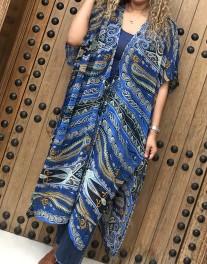Kimono mousseline blue white yellow