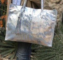 Tote bag big size leather silver light blue