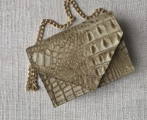 Mini bag envelope leather croco beige with chain