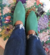 Slippers suede leather green