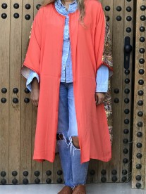 Kimono crêpe corail avec dos ethnic coloré marron jaune