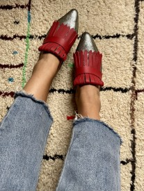 Mules sleepers leather grey silver red