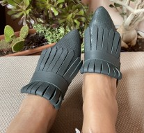 Mules sleepers leather green