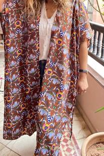 Kimono crêpe brown light blue & blue yellow pink