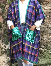 Kimono linen with tiles purple green yellow with Sfifa & mozona green
