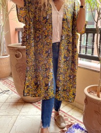 Kimono crepe yellow mustard blue