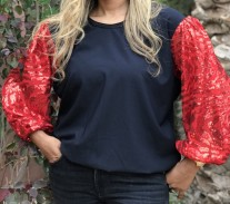 Top crêpe black with red large sleeves & mozona