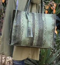 Tote bag large size leather croco green