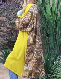 Kimono crêpe mustard with back colorful brown ethnic