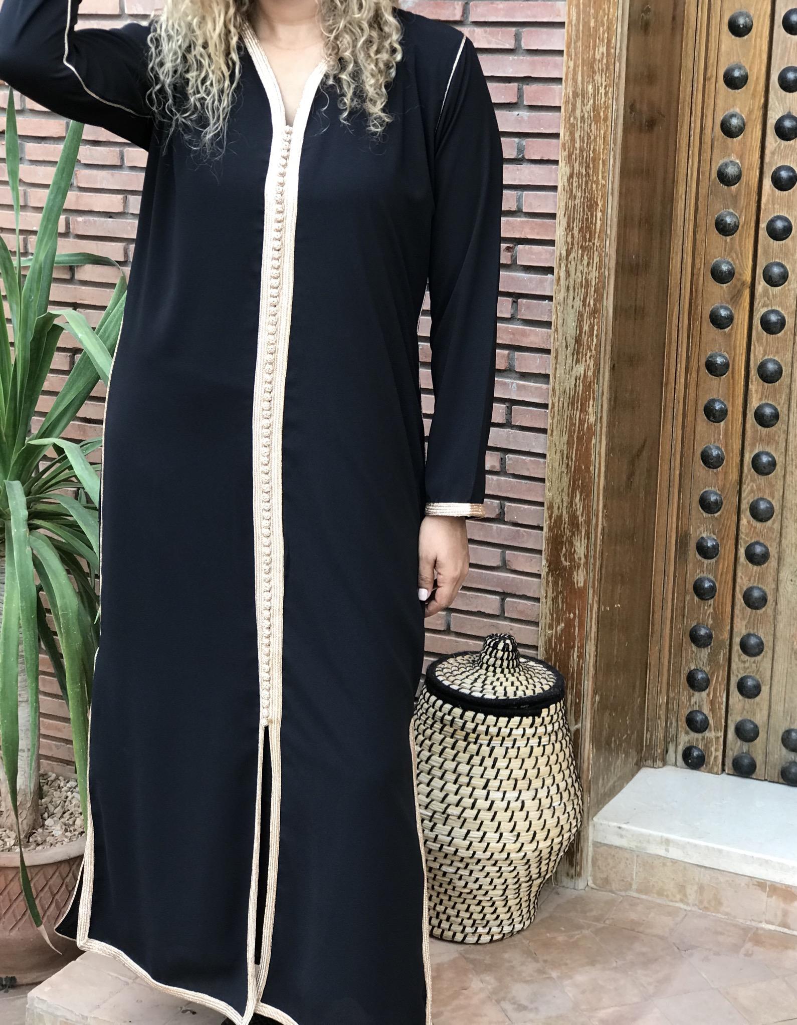 tunic 2pieces long mousseline de soie black with bronze sfifa