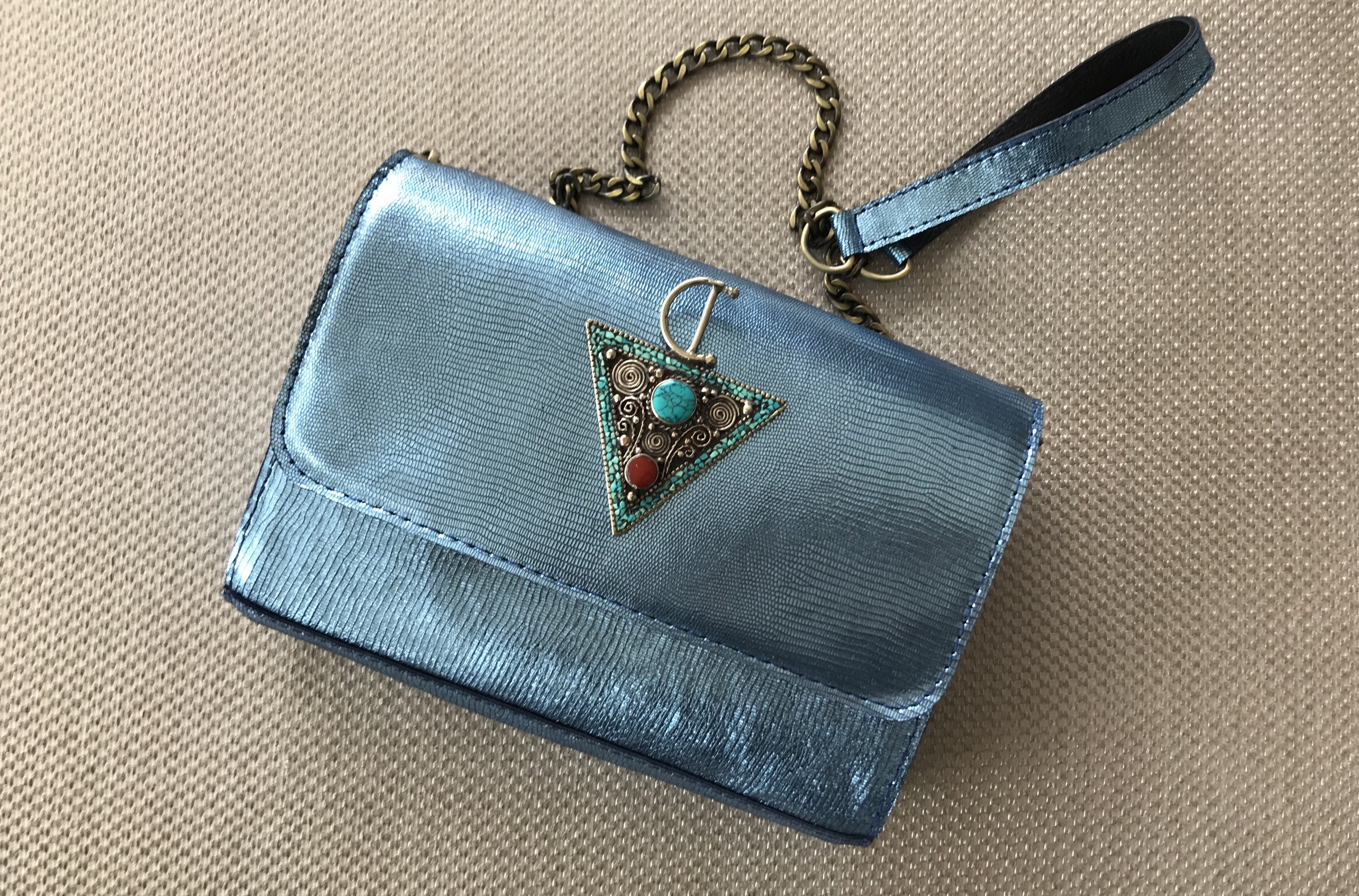 Jewelry bag leather croco light blue