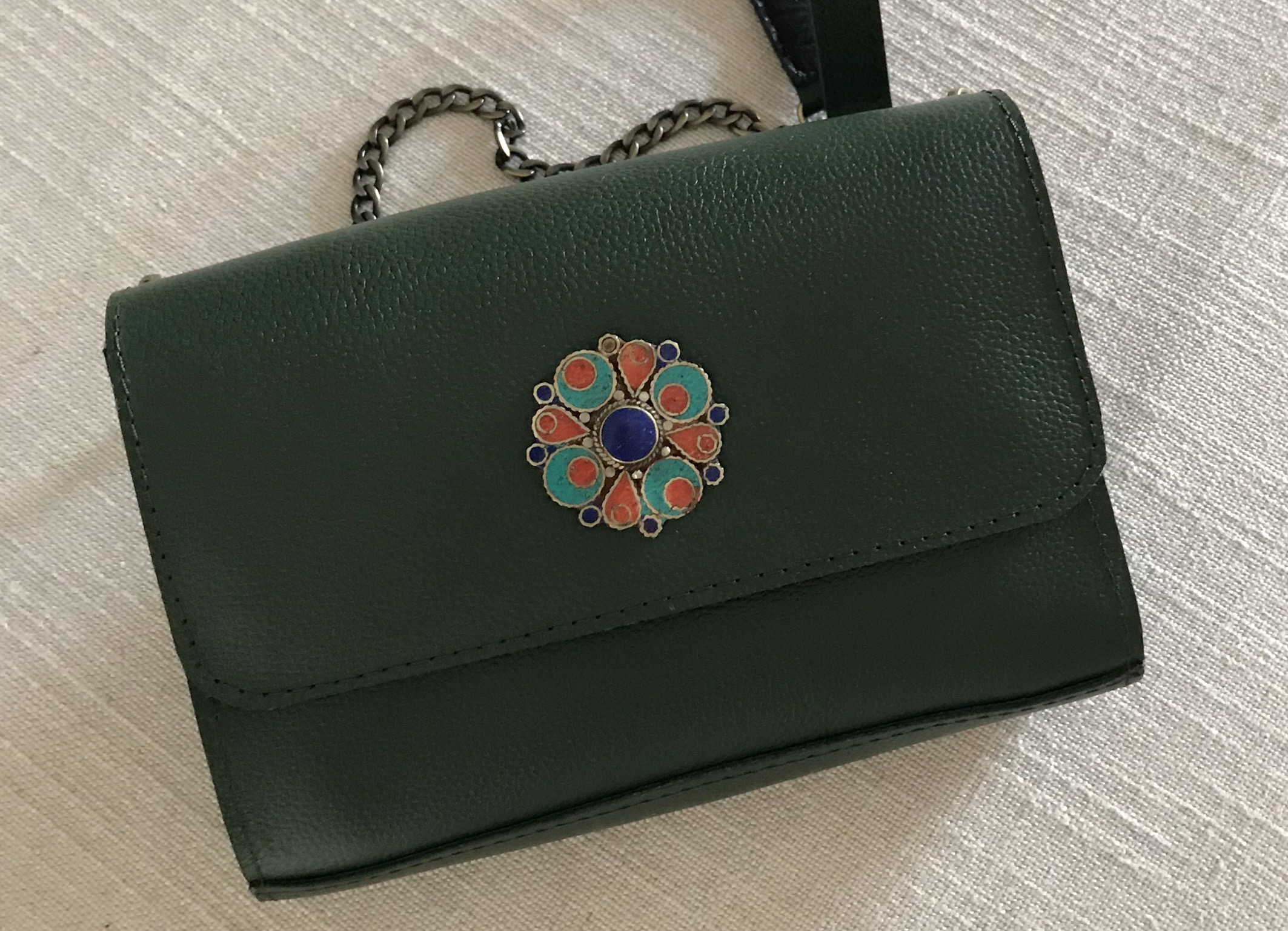 Jewelry bag leather green with Jewelery