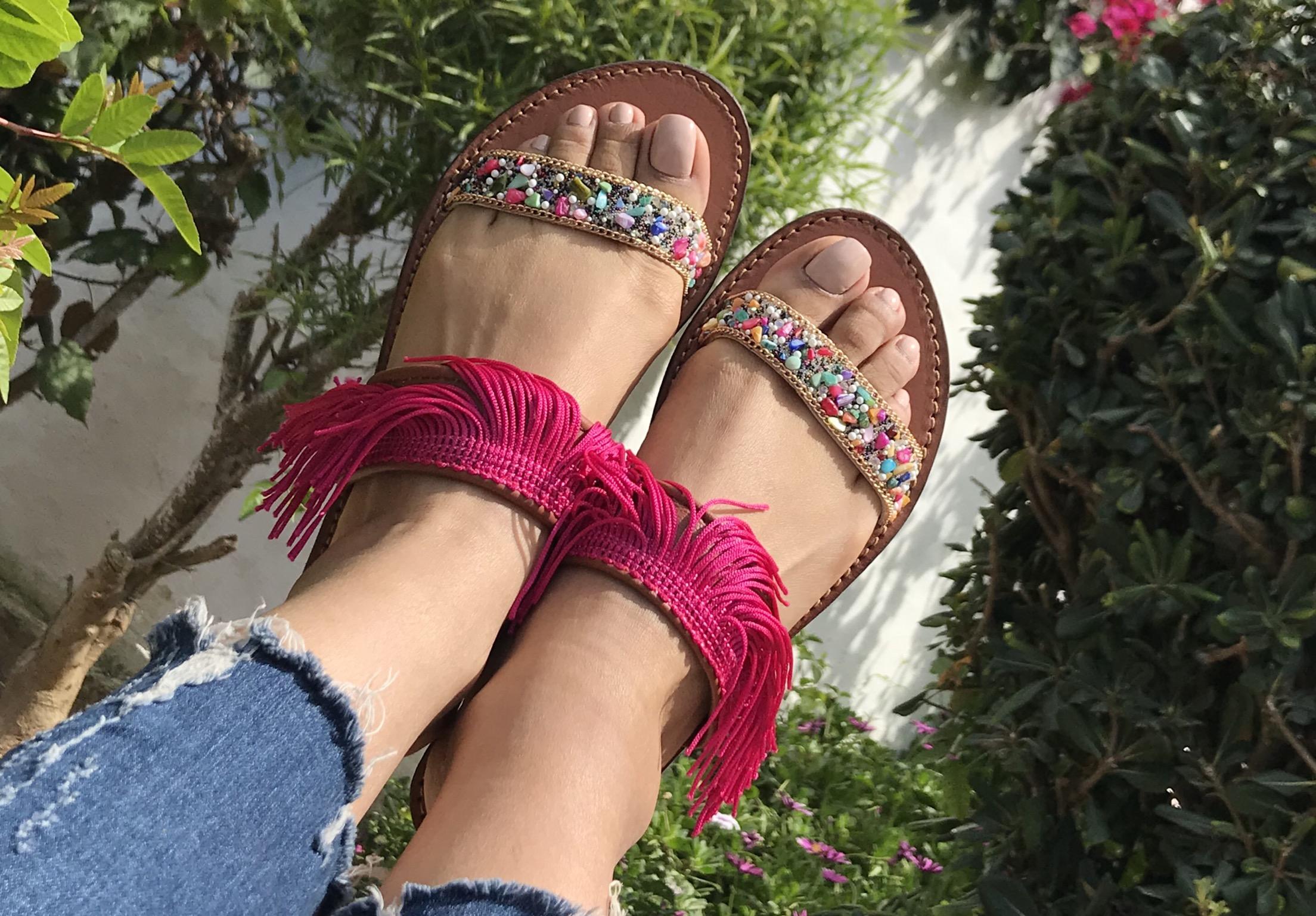 Sandals strass & franges pink fushia