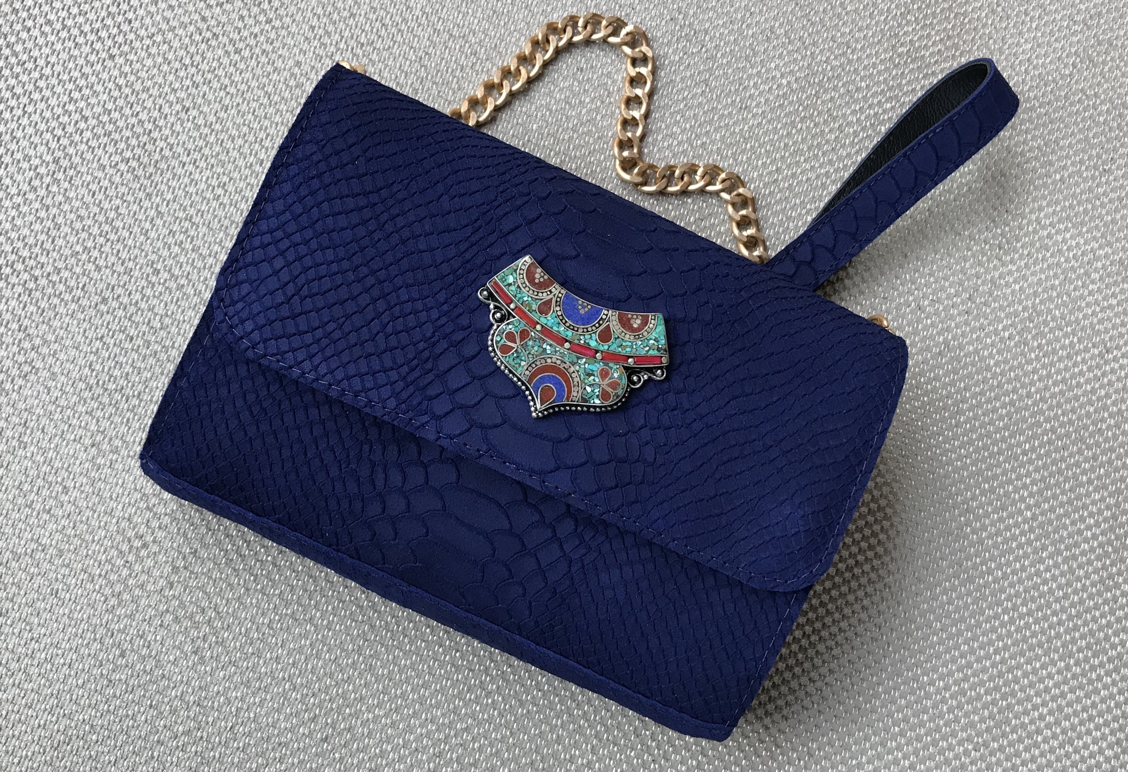 Handbag jewelry suede leather croco blue majorelle