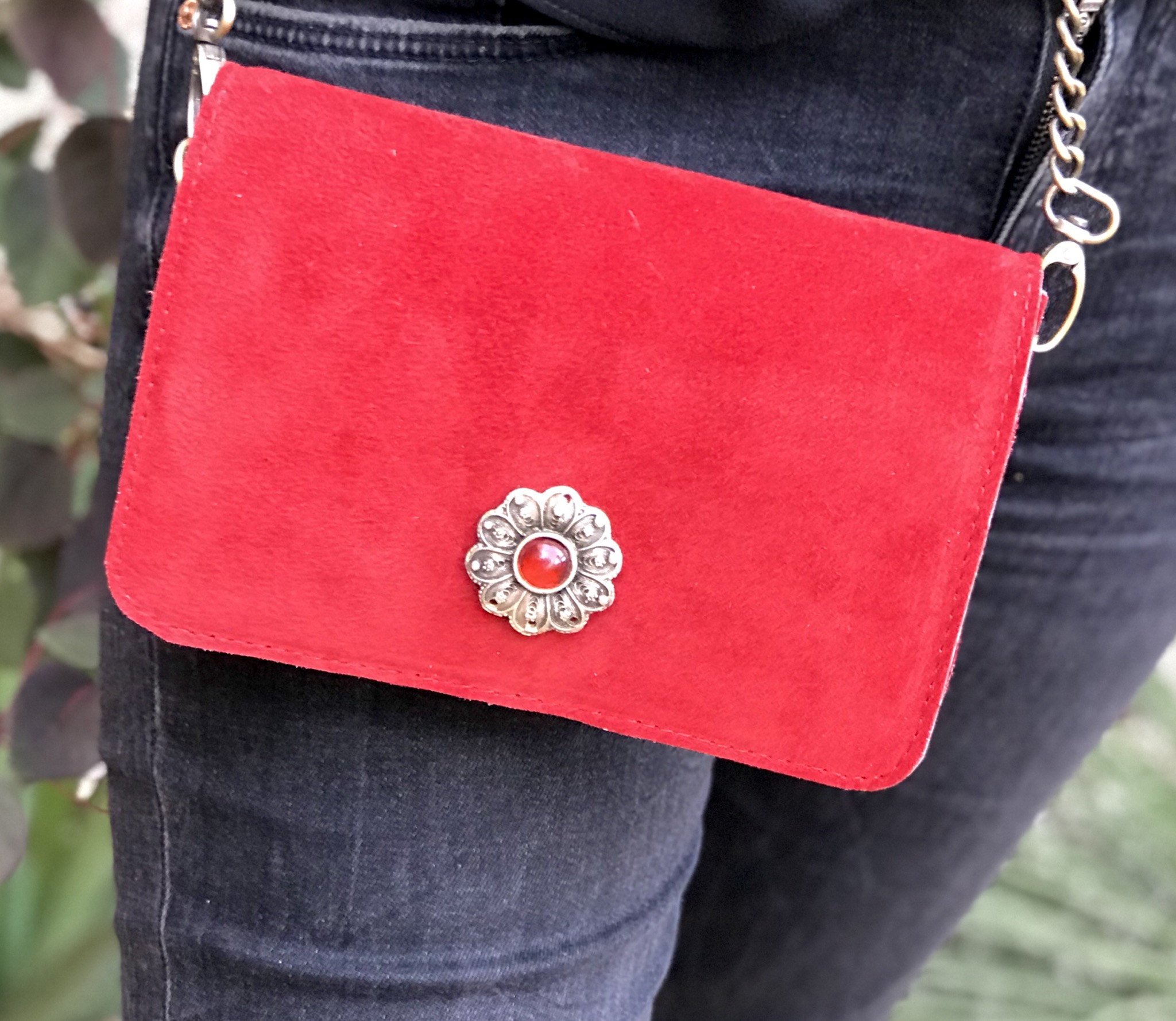 Mini bag suede leather red with artisanal jewelry