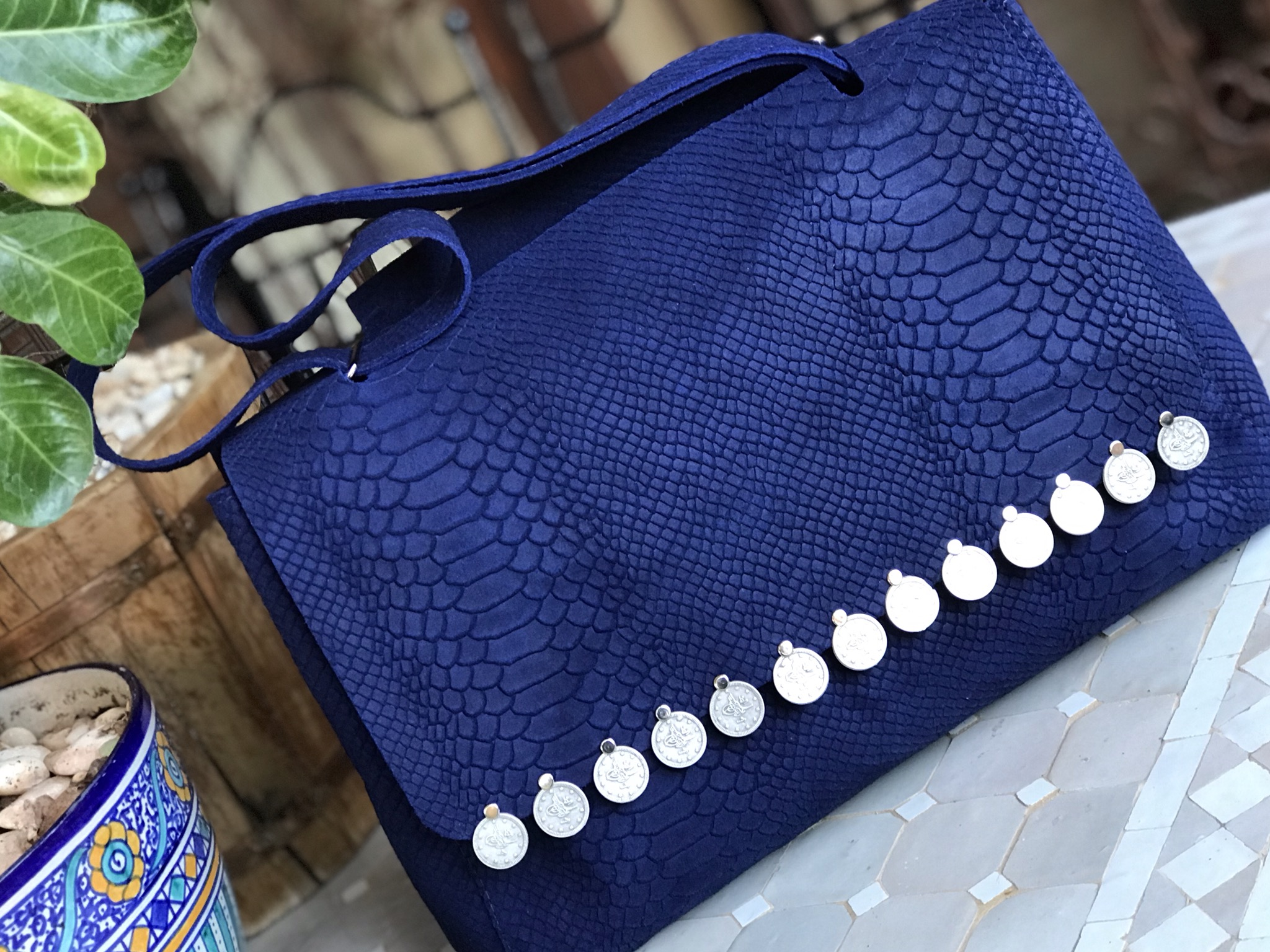 Bag leather croco blue majorelle with coins