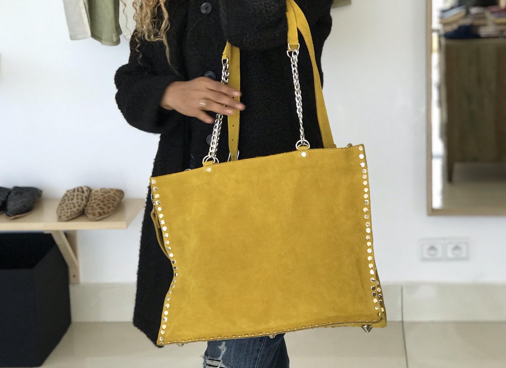 Big bag leather yellow studded