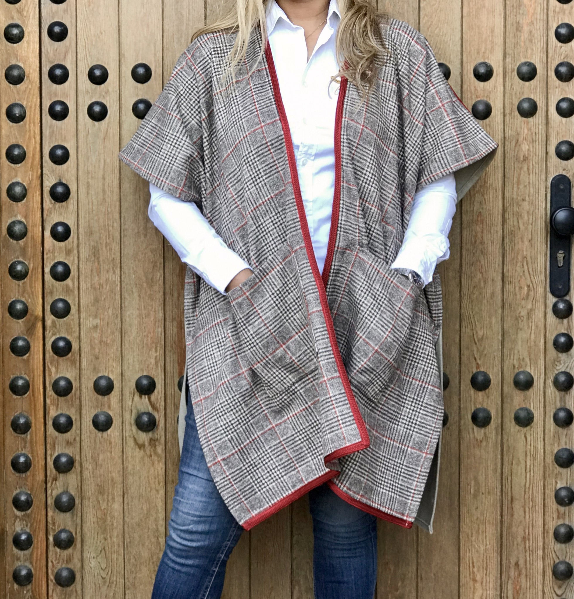 Kimono tweed tiles red beige brown with red Sfifa