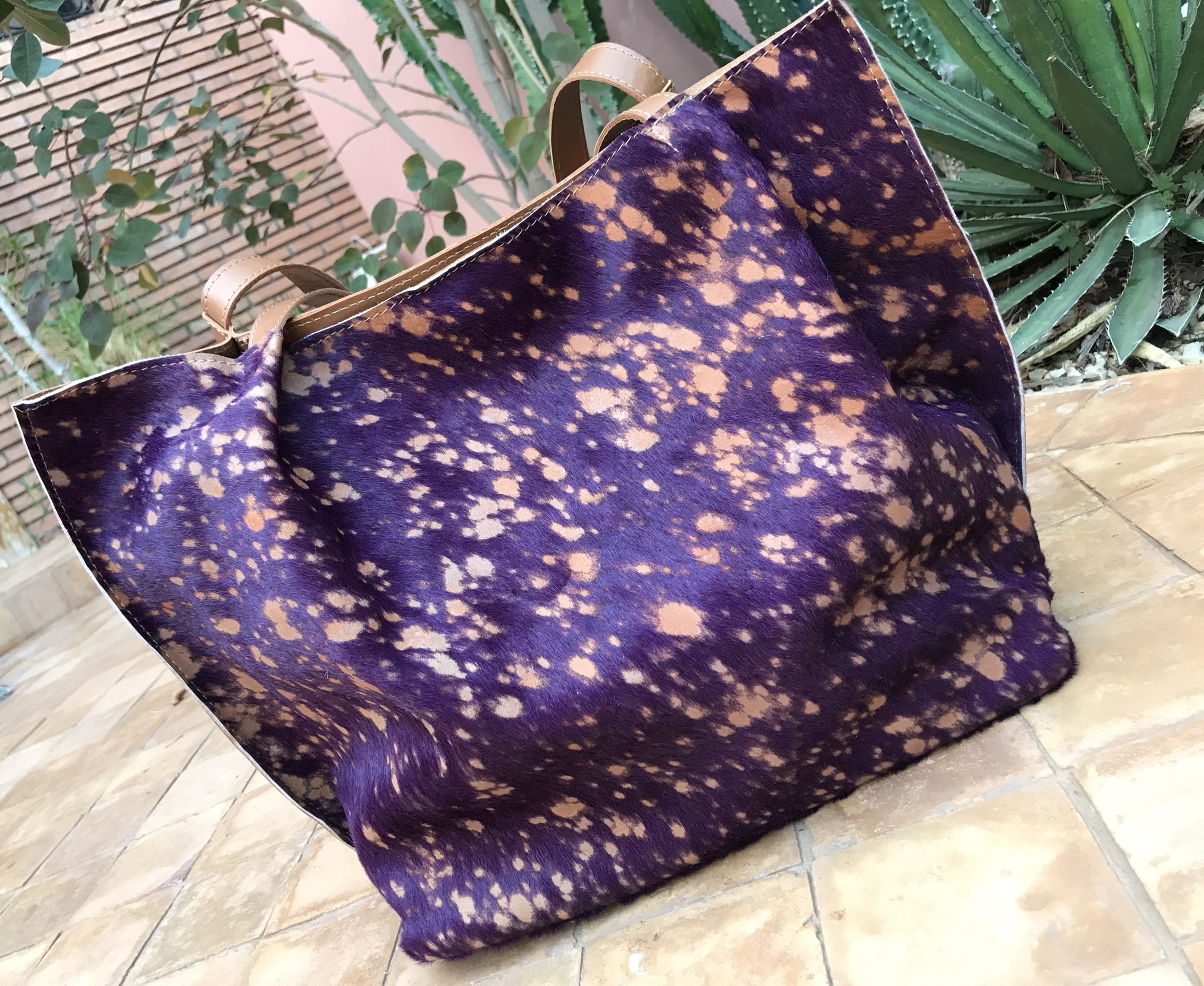 Bag tote leather camel & suede leather purple camel