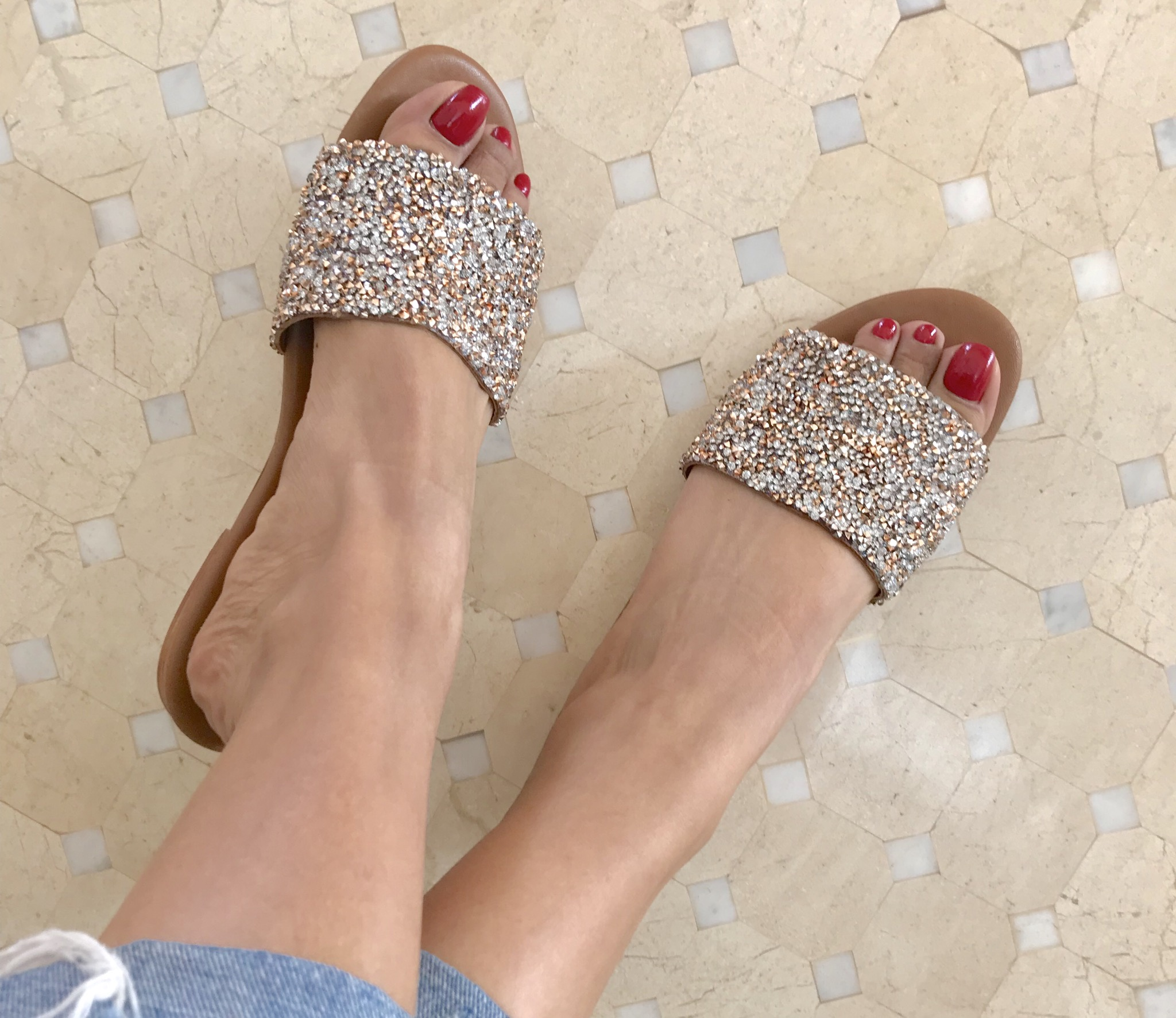 Sandals leather strass large stripe silver salmon