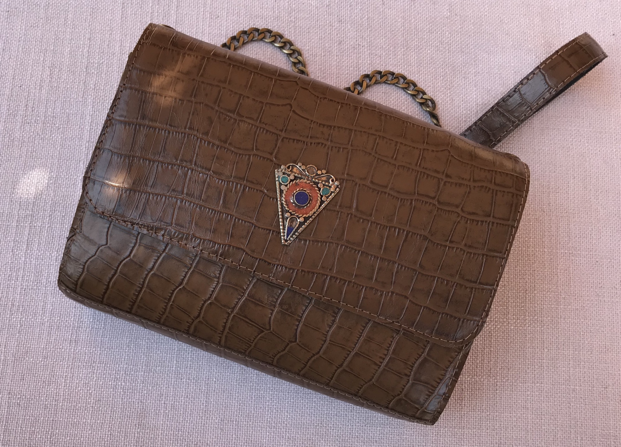 Jewelry bag leather croco brown with jewelry
