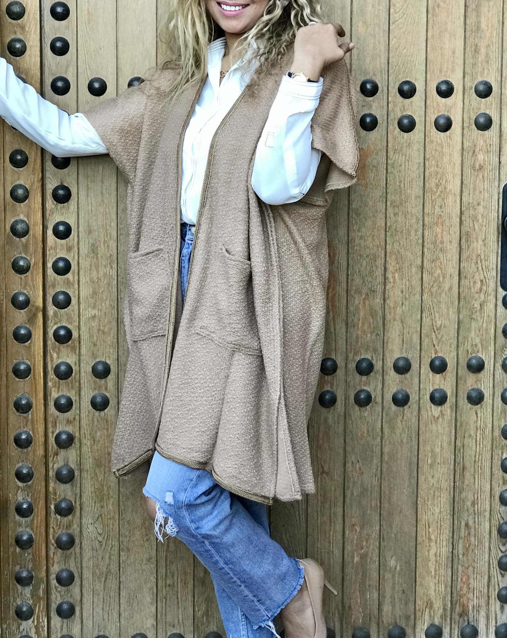 Kimono wool beige with Sfifa beige & pockets
