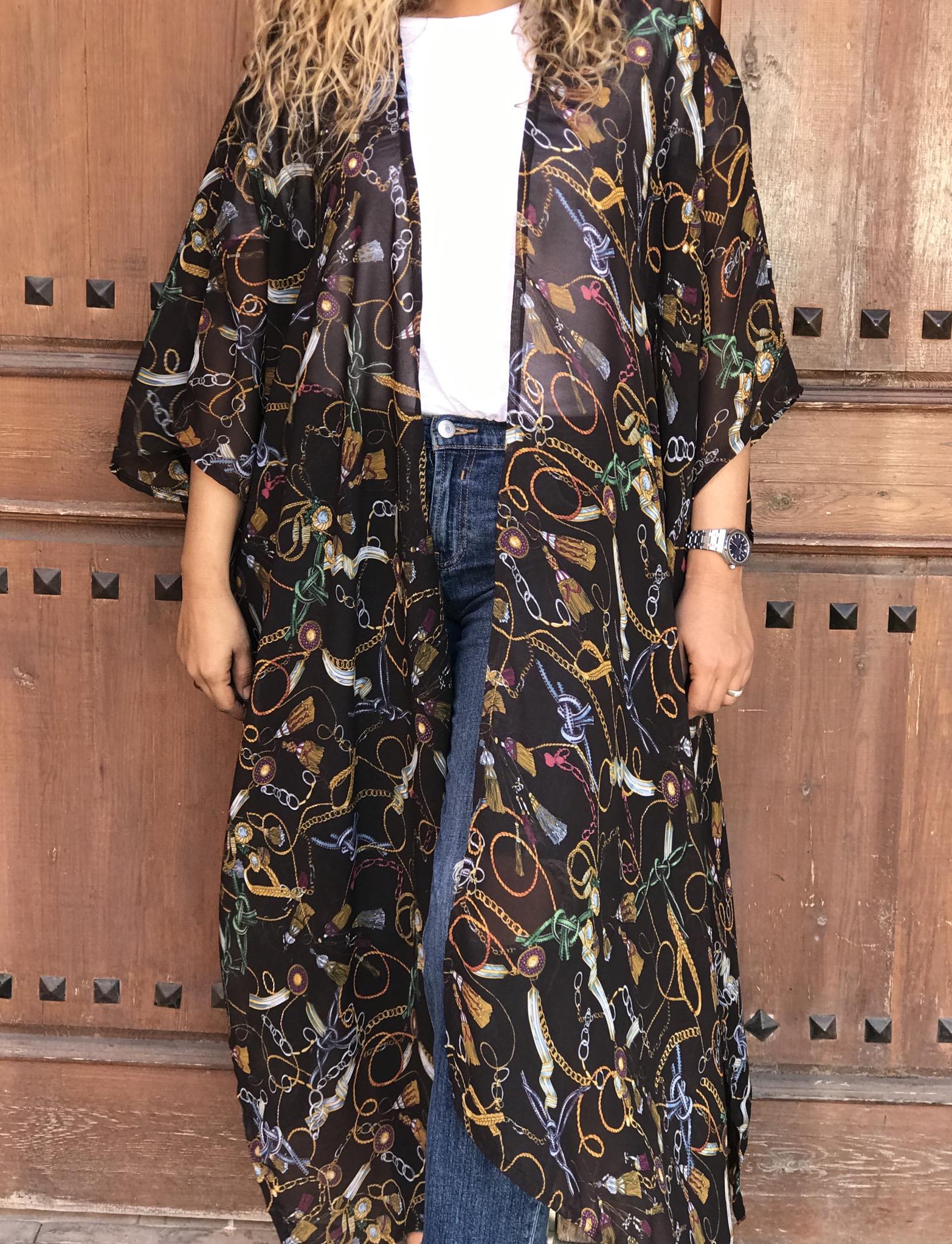 Kimono mousseline de soie brown yellow pattern hermès