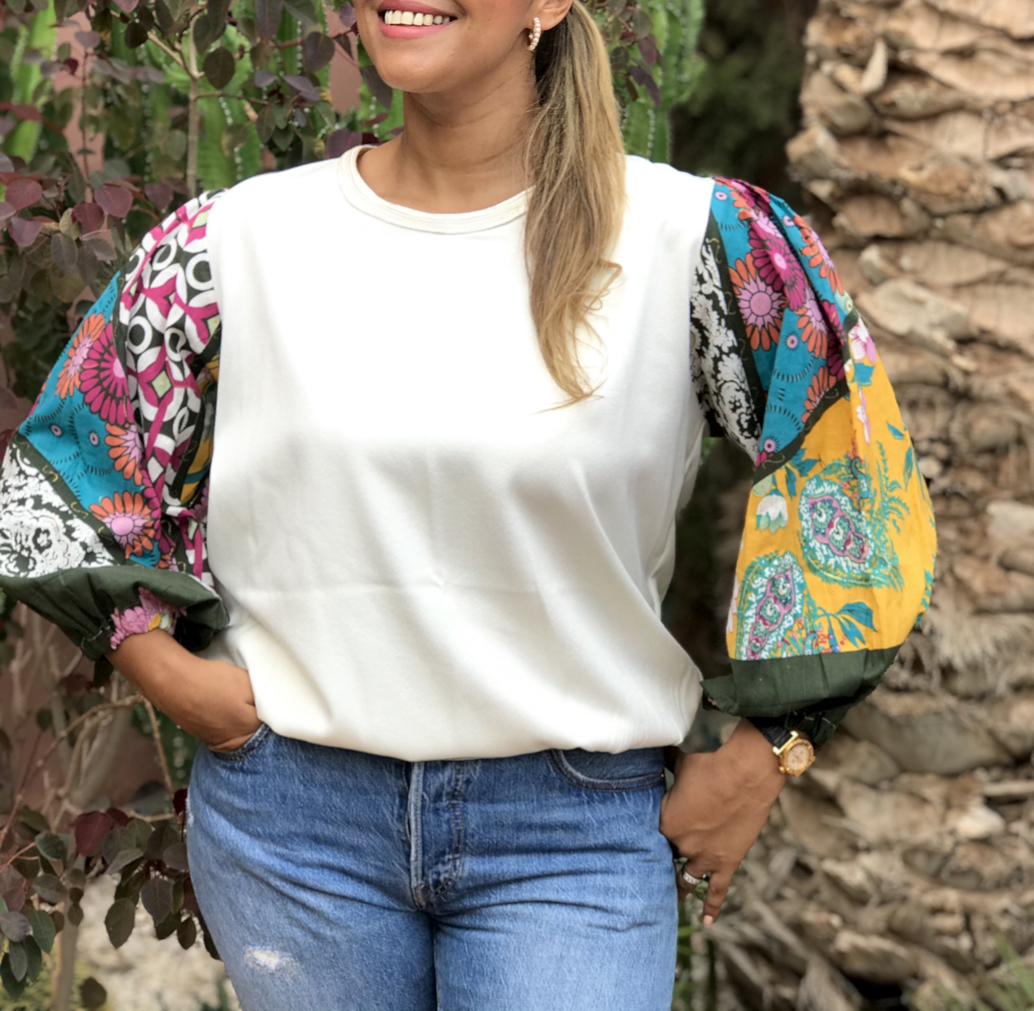 Top crêpe white with large sleeves Cotton colorful