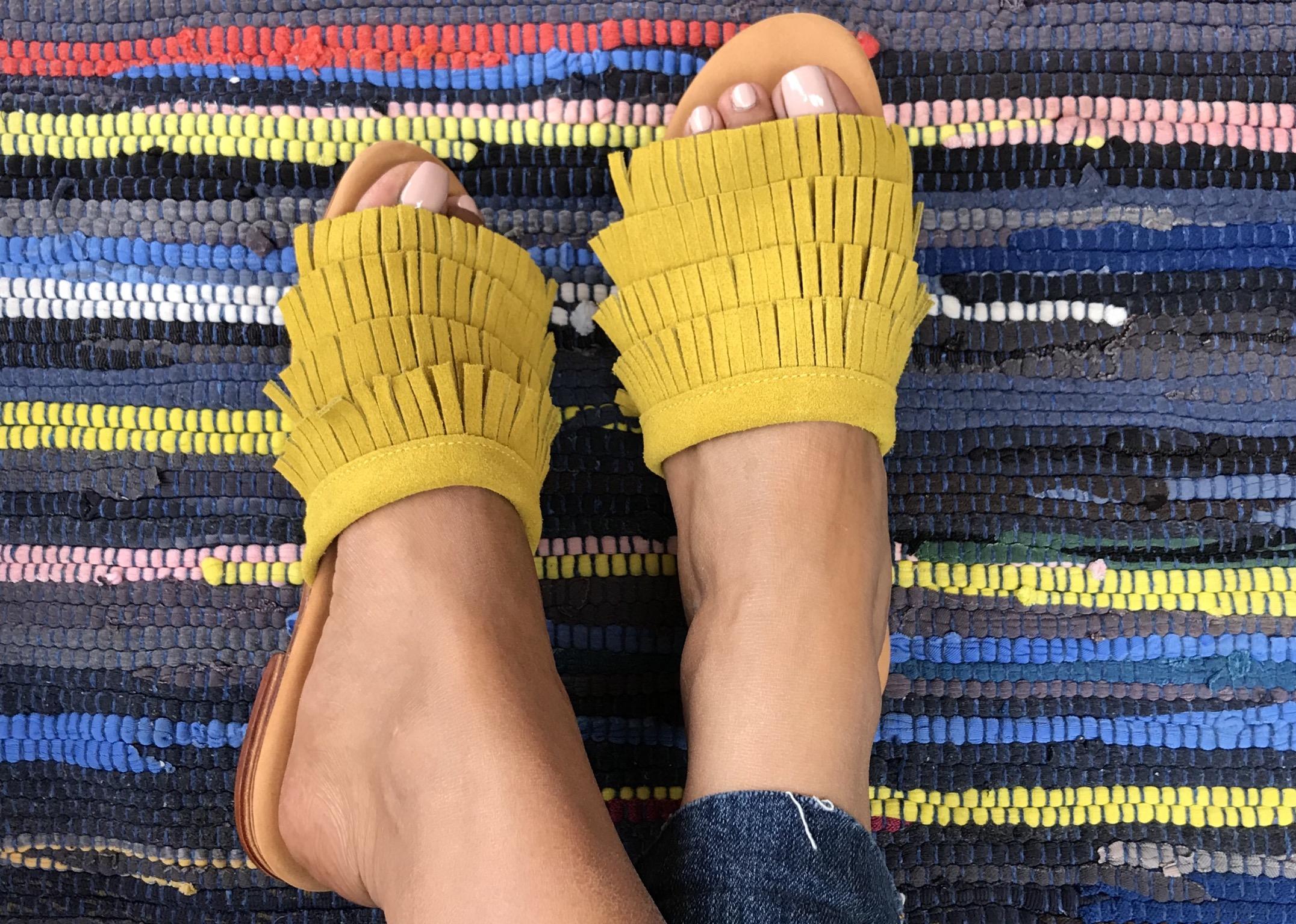 Sandals with fringes Orange