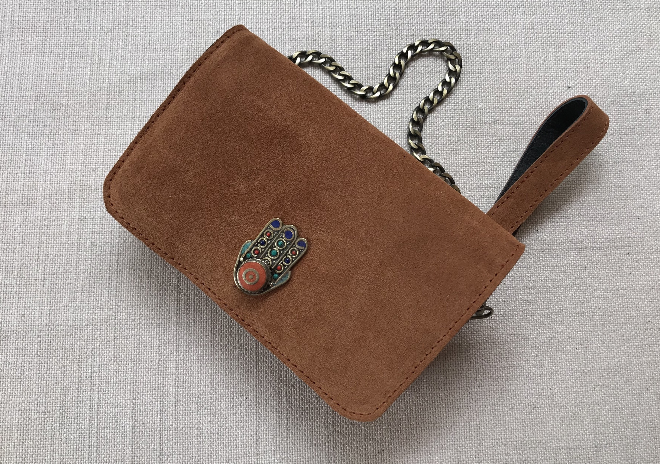 Bag mini suede leather with jewelry