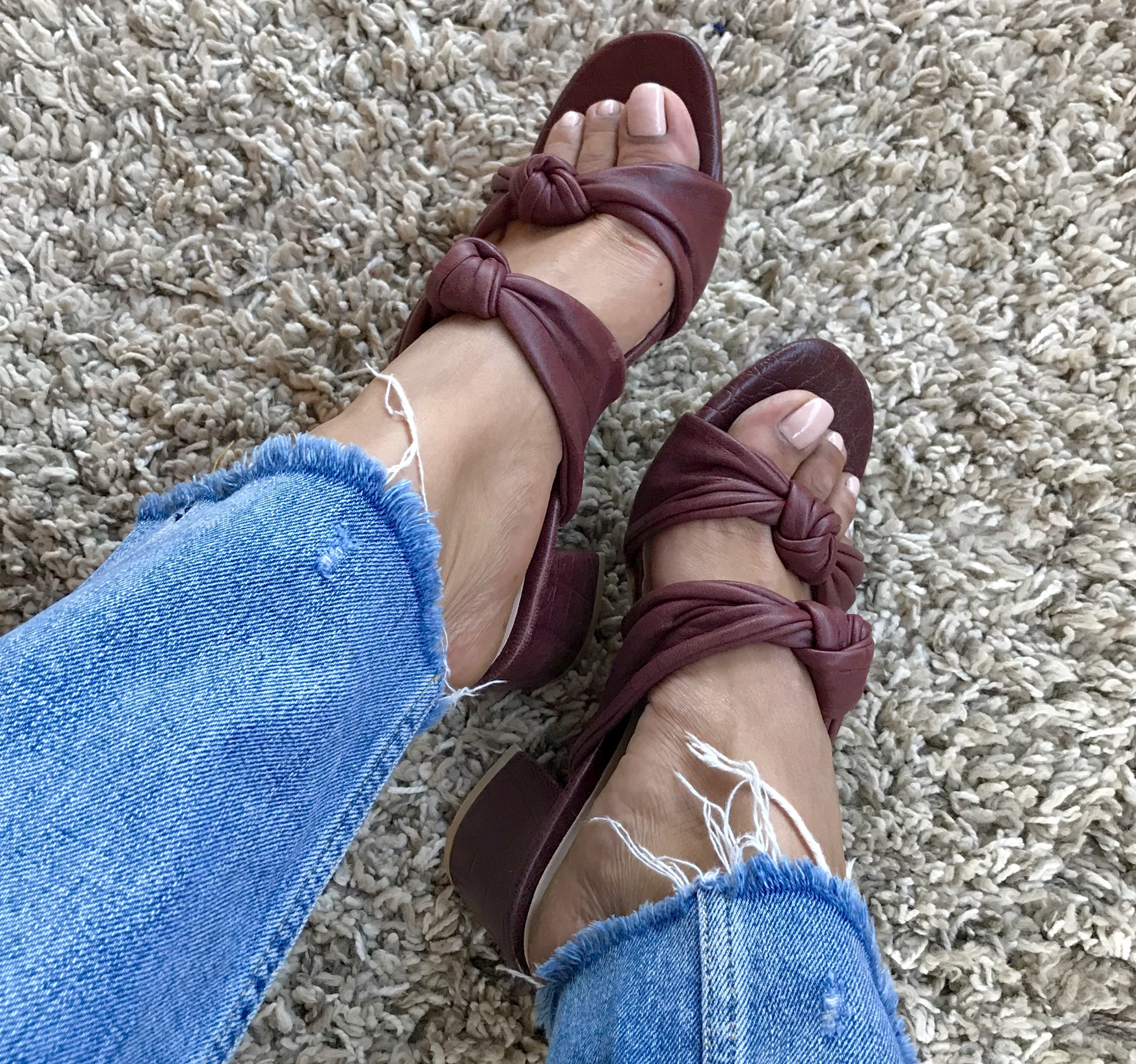 Sandals burgundy leather with bows & heels