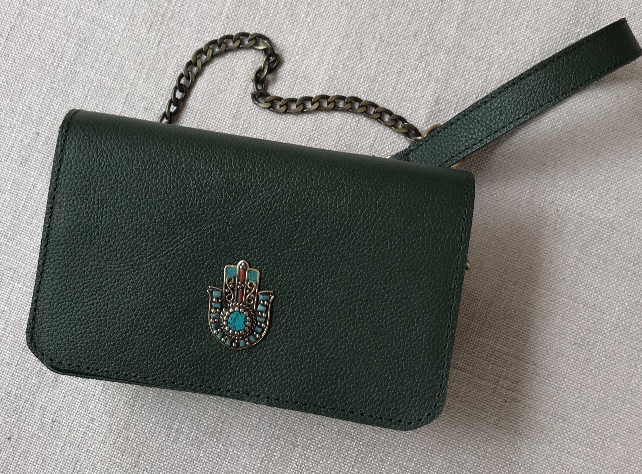 Bag mini leather green with jewelry