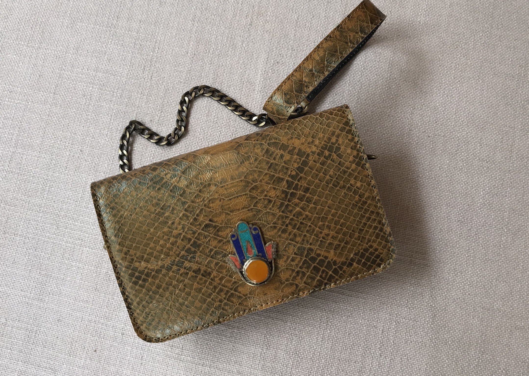 Bag mini leather croco camel mustard jewelry with khmissa