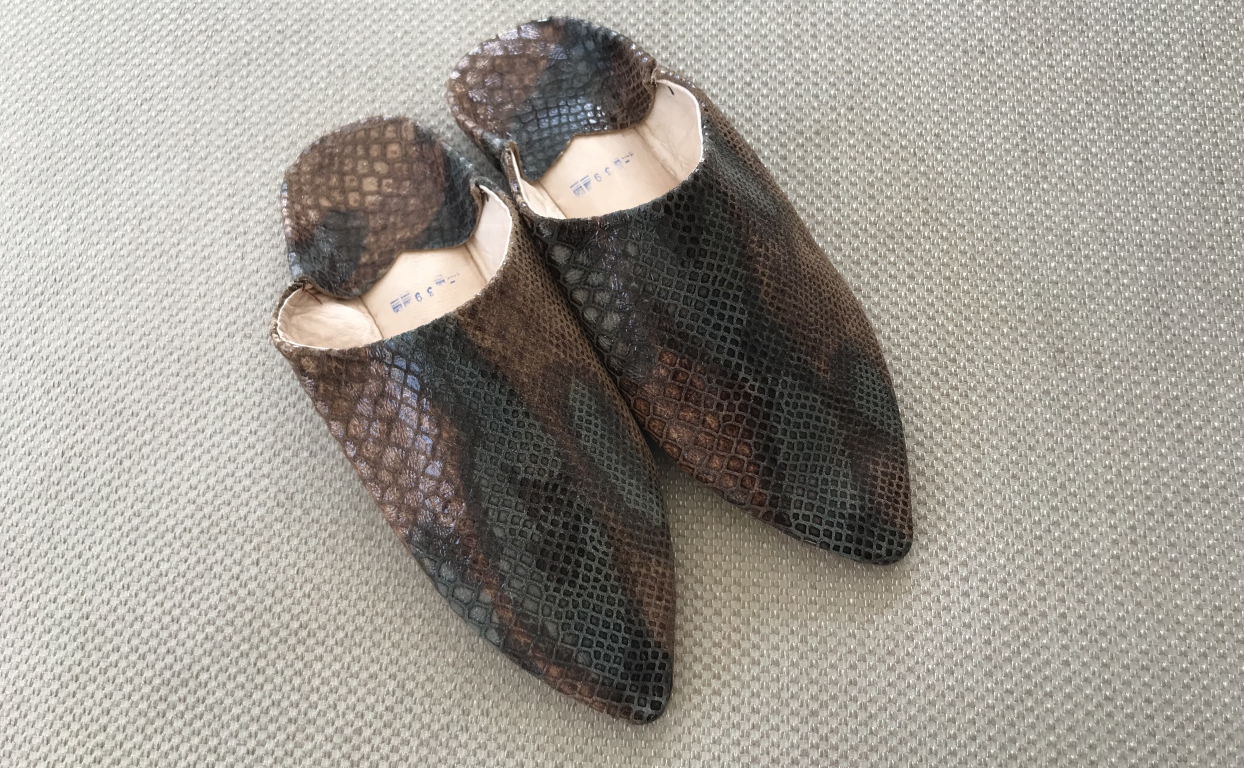Slippers leather croco brown Green